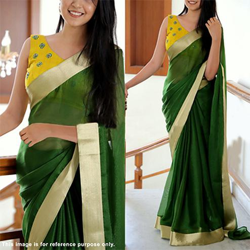 Gorgeous Green Partywear Embroidered Vichitra Art Silk Saree