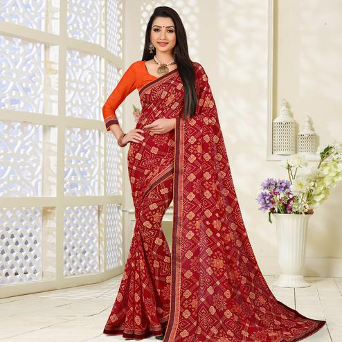 Beautiful Red Colored Lace Border Work Printed Casual Wear Georgette Saree