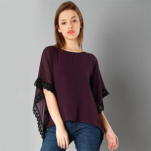 Ravishing Wine Colored Casual Wear Pure Georgette Top