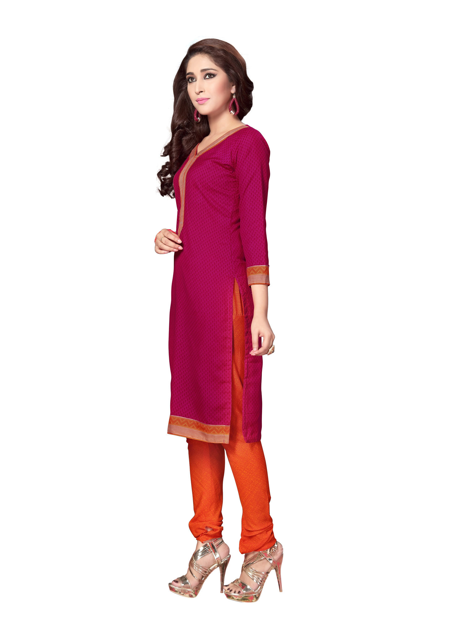 Graceful Pink And Blue Colored Dual Top Printed Cotton Dress Material