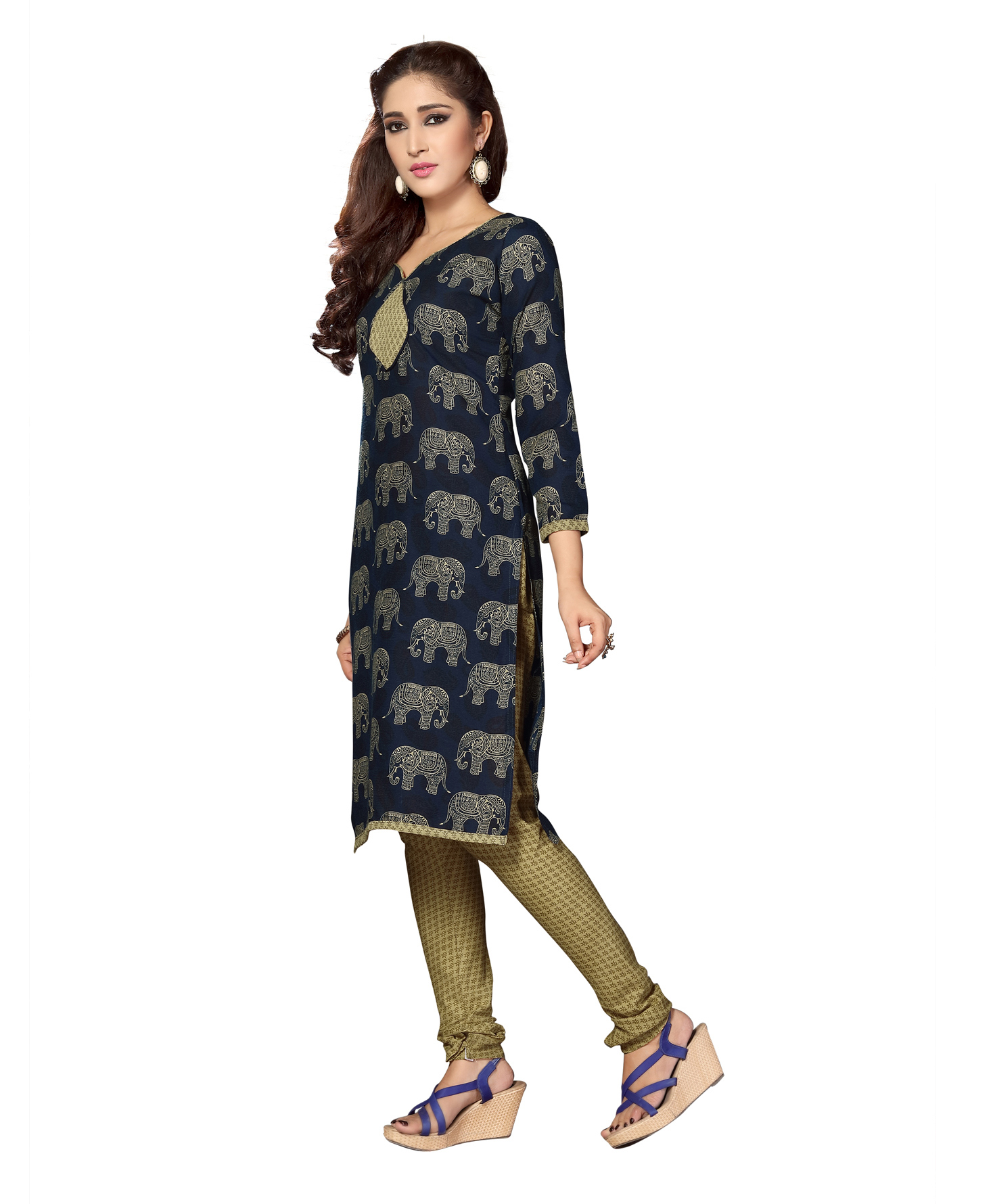 Adorable Blue And Maroon Colored Dual Top Printed Cotton Dress Material