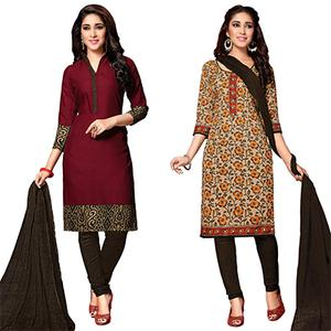 Charming Maroon And Beige Colored Dual Top Printed Cotton Dress Material