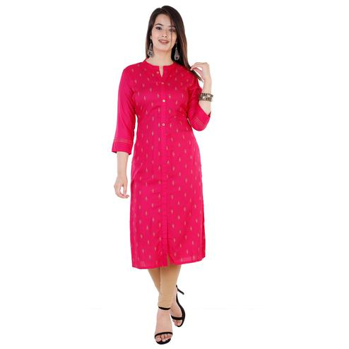 Lakbi - Rani Colored Casual Digital Printed Rayon Kurti