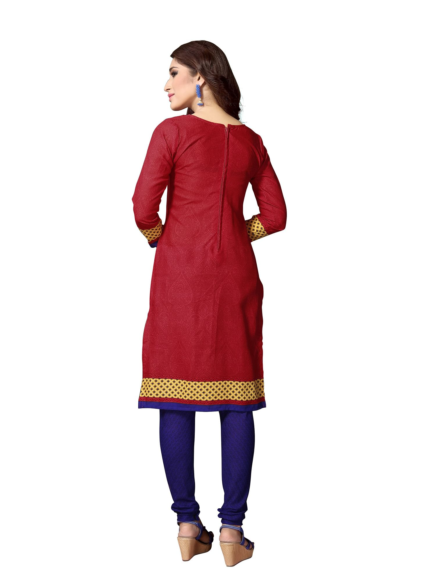 Stunning Red And Blue Colored Dual Top Printed Cotton Dress Material