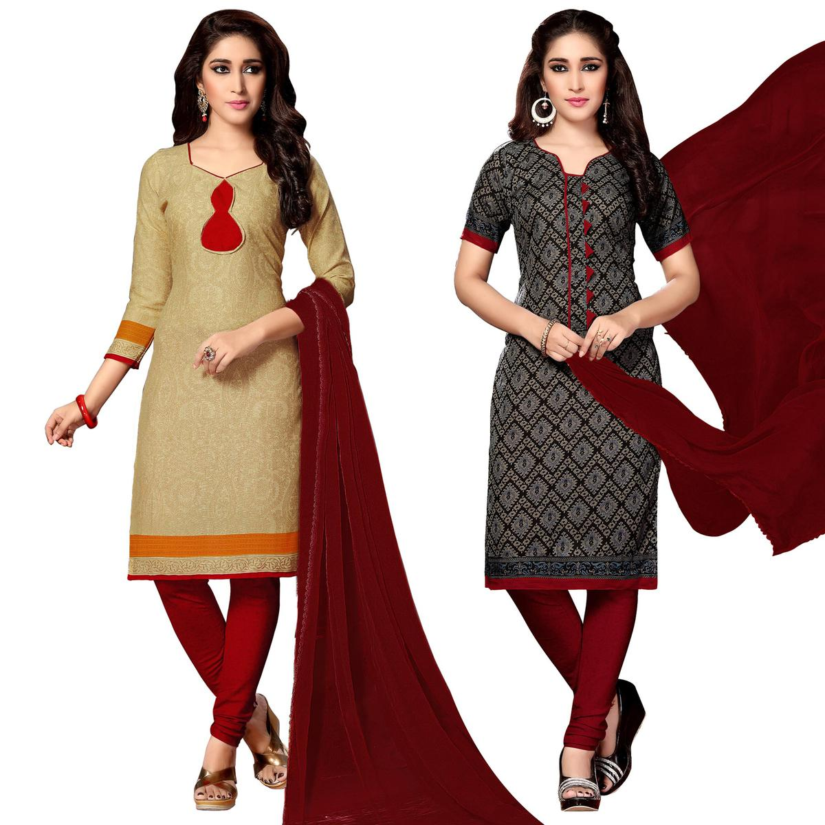 Attractive Cream And Black Colored Dual Top Printed Cotton Dress Material