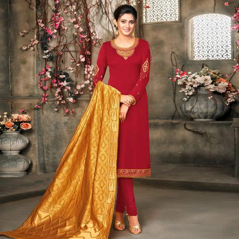 Classy Red Colored Embroidered Partywear Satin Georgette Dress Material