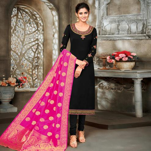 Exclusive Black Colored Embroidered Partywear Satin Georgette Dress Material