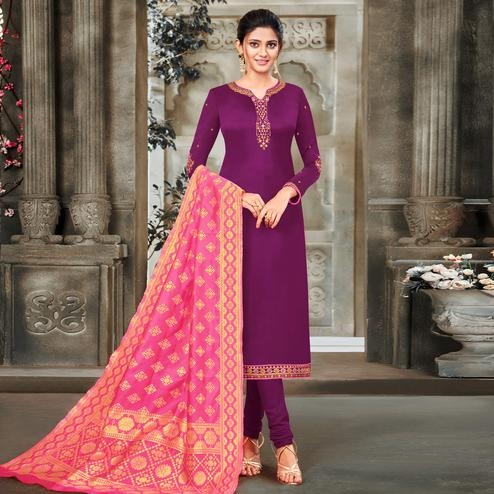 Ravishing purple Colored Embroidered Partywear Satin Georgette Dress Material