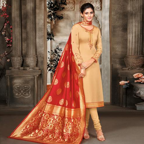Breathtaking Beige Colored Embroidered Partywear Satin Georgette Dress Material