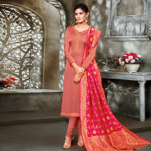 Imposing Peach Colored Embroidered Partywear Satin Georgette Dress Material