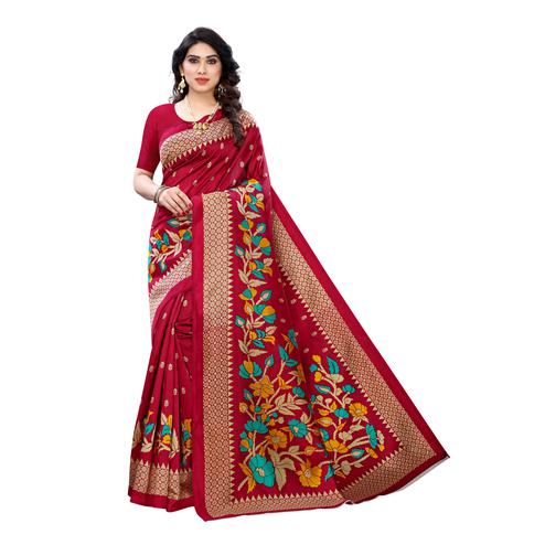 Exclusive Red Colored Festive Wear Floral Printed Art Silk Saree