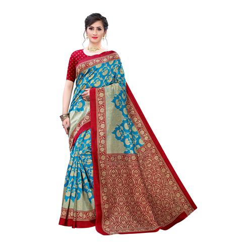 Pleasant Turquoise Colored Festive Wear Floral Printed Art Silk Saree