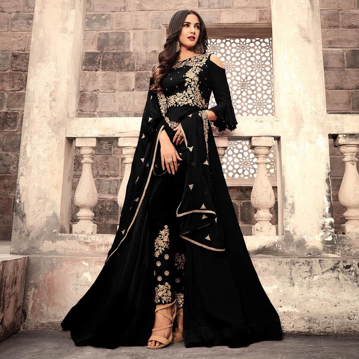 df3896b065 Buy Ravishing Black Colored Designer Partywear Embroidered Georgette  Anarkali Suit Online India, Best Prices, Reviews - Peachmode