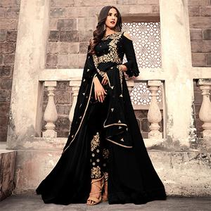 Ravishing Black Colored Designer Partywear Embroidered Georgette Anarkali Suit