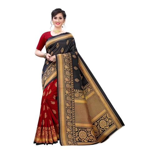 Exotic Black-Red Colored Festive Wear Abstract Printed Art Silk Half-Half Saree