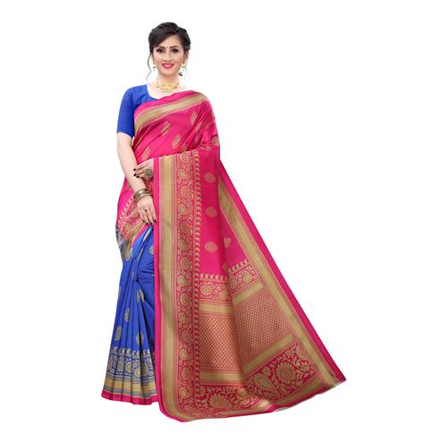 Arresting Pink-Blue Colored Festive Wear Abstract Printed Art Silk Half Half Saree
