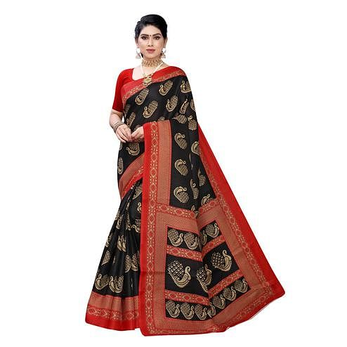 Intricate Black Colored Festive Wear Peacock Printed Cotton Silk Saree