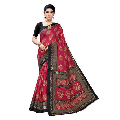 Surpassing Red Colored Festive Wear Peacock Printed Cotton Silk Saree