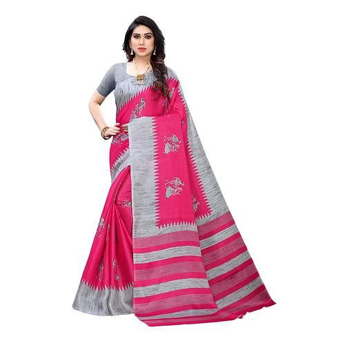 Staring Pink Colored Festive Wear Abstract Printed Cotton Silk Saree