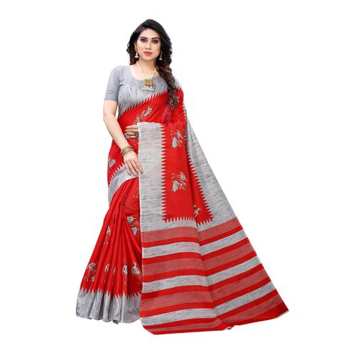 Ravishing Red Colored Festive Wear Abstract Printed Cotton Silk Saree