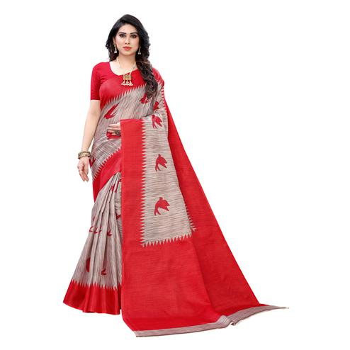 Mesmerising Red Colored Casual Wear Bird Printed Cotton Silk Saree