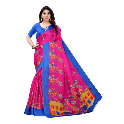 Blissful Pink Colored Casual Wear Printed Cotton Silk Saree