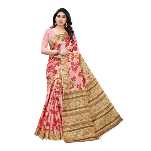 Gorgeous Pink Colored Festive Wear Floral Printed Cotton Silk Saree