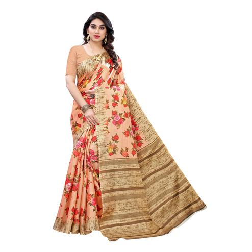 Amazing Light Orange Colored Festive Wear Floral Printed Cotton Silk Saree