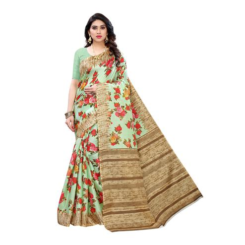 Eye-catching Light Green Colored Festive Wear Floral Printed Cotton Silk Saree