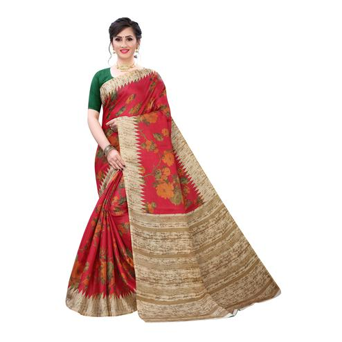 Innovative Red Colored Casual Wear Floral Printed Cotton Silk Saree