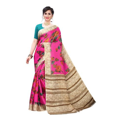 Captivating Pink Colored Casual Wear Floral Printed Cotton Silk Saree