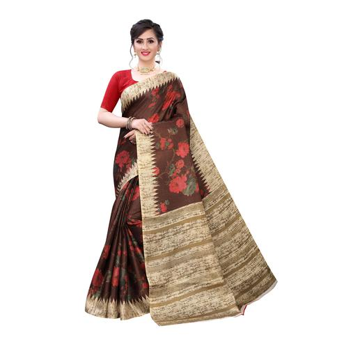 Engrossing Brown Colored Casual Wear Floral Printed Cotton Silk Saree