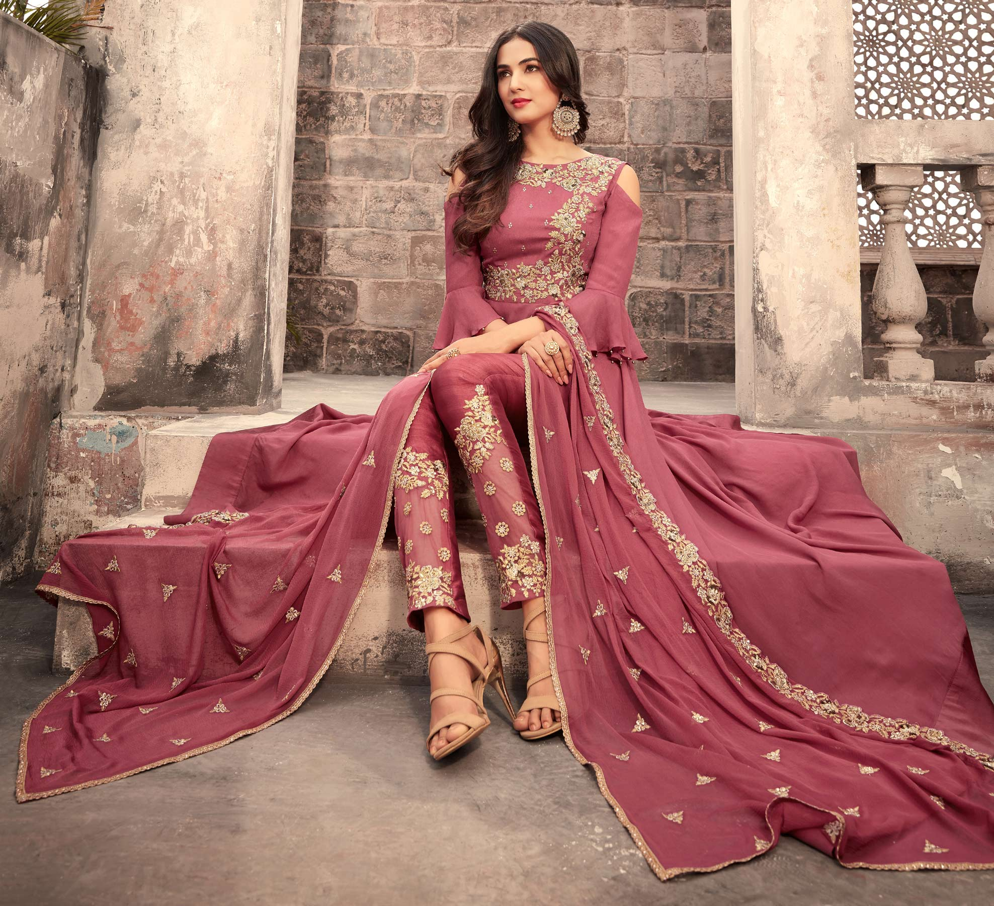 Graceful Pink Colored  Designer Partywear Embroidered Georgette Anarkali Suit