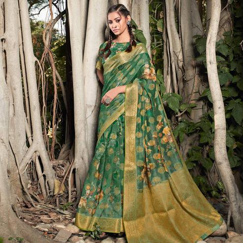 Blooming Green Colored Festive Wear Digital Printed Soft Linen Saree