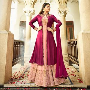 Mesmerising Peach Colored Designer Embroidered Partywear Georgette Abaya Style Anarkali Suit