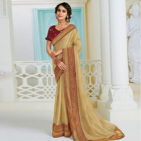 Gorgeous Chikoo Colored Partywear Foil Work Chiffon Saree