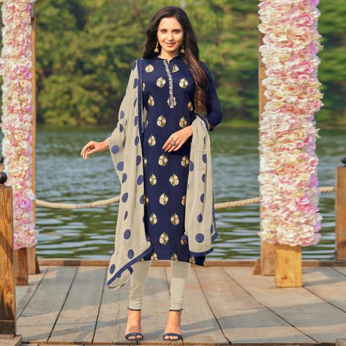 Majesty Navy Blue Colored Partywear Embroidered Modal Cotton Dress Material