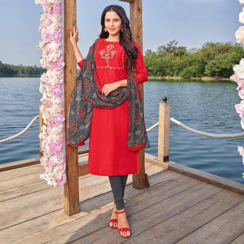 Mesmerising Red Colored Partywear Embroidered Modal Cotton Dress Material