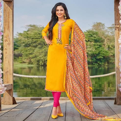Pleasance Yellow Colored Partywear Embroidered Modal Cotton Dress Material