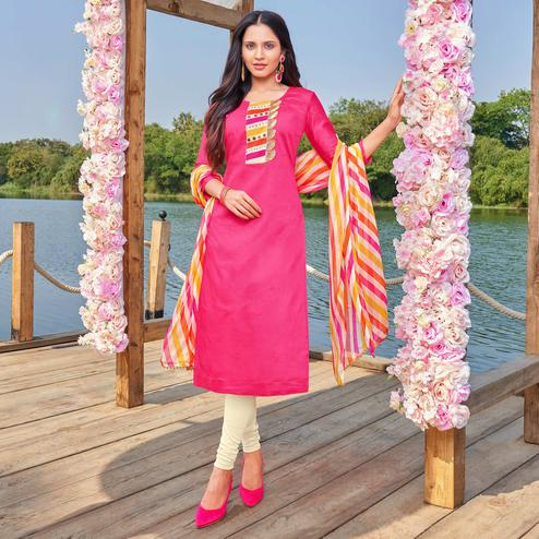 Breathtaking Pink Colored Partywear Embroidered Modal Cotton Dress Material