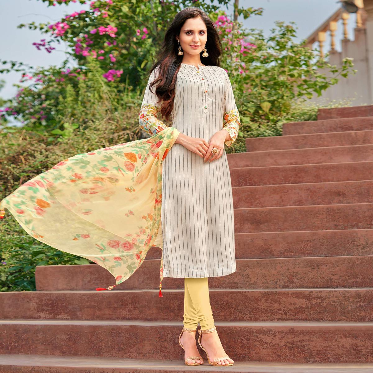 Ethnic Offwhite Colored Partywear Embroidered Modal Cotton Dress Material