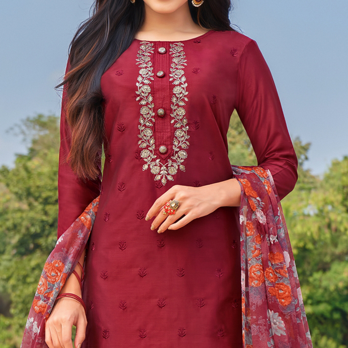 Ravishing Maroon Colored Partywear Embroidered Modal Cotton Dress Material