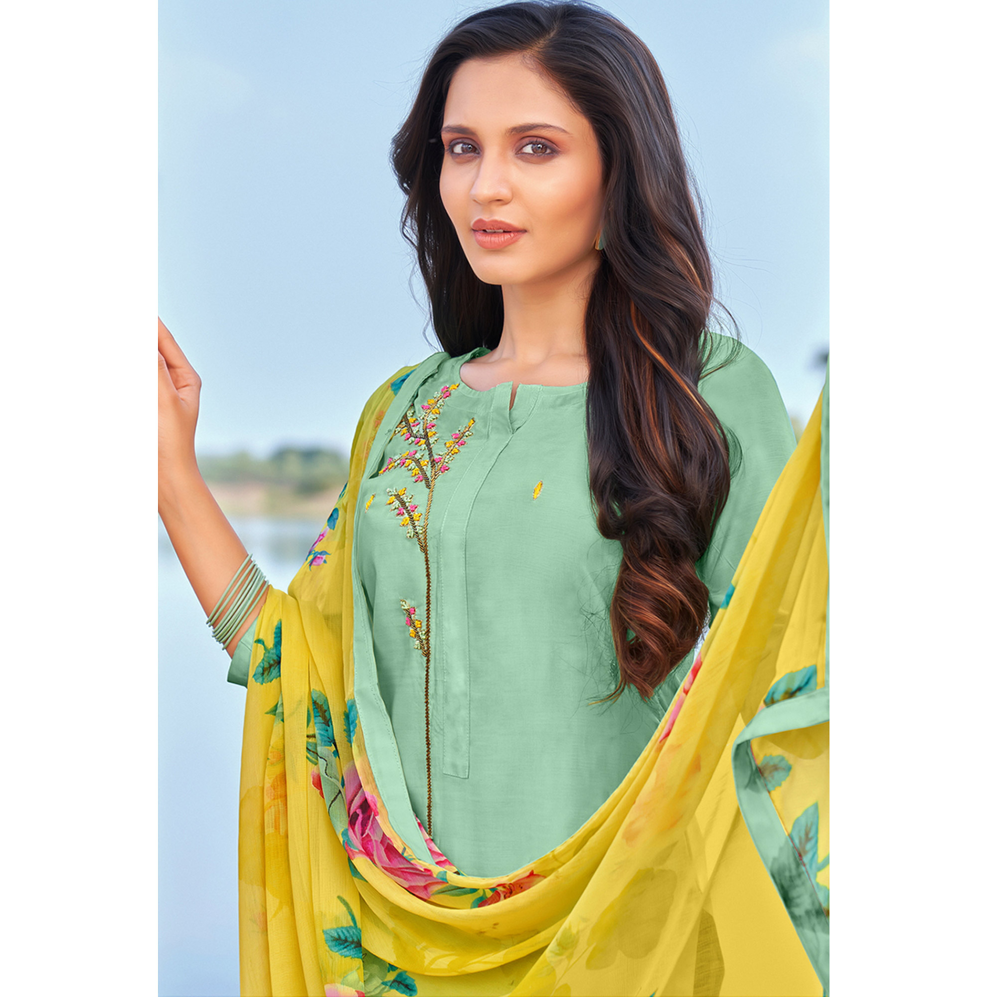 Surpassing Sea Green Colored Partywear Embroidered Modal Cotton Dress Material