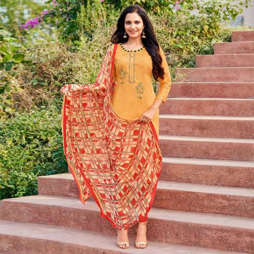 Intricate Light Orange Colored Partywear Embroidered Modal Cotton Dress Material