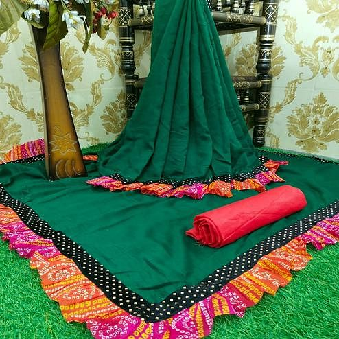 Attractive Bottle Green Colored Partywear Solid Vichitra Silk Saree With Bandhani Print Ruffle