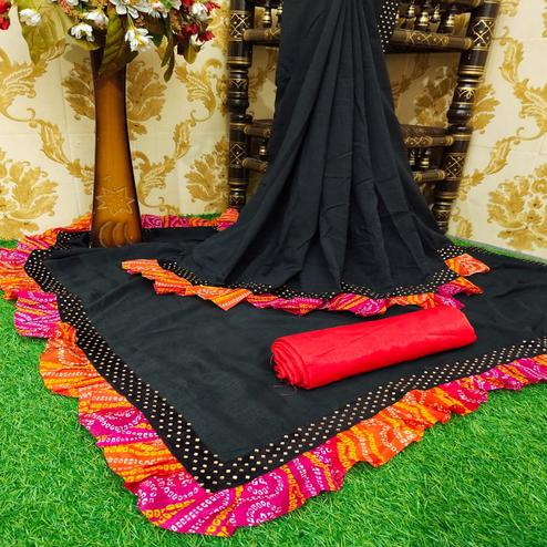 Graceful Black Colored Partywear Solid Vichitra Silk Saree With Bandhani Print Ruffle