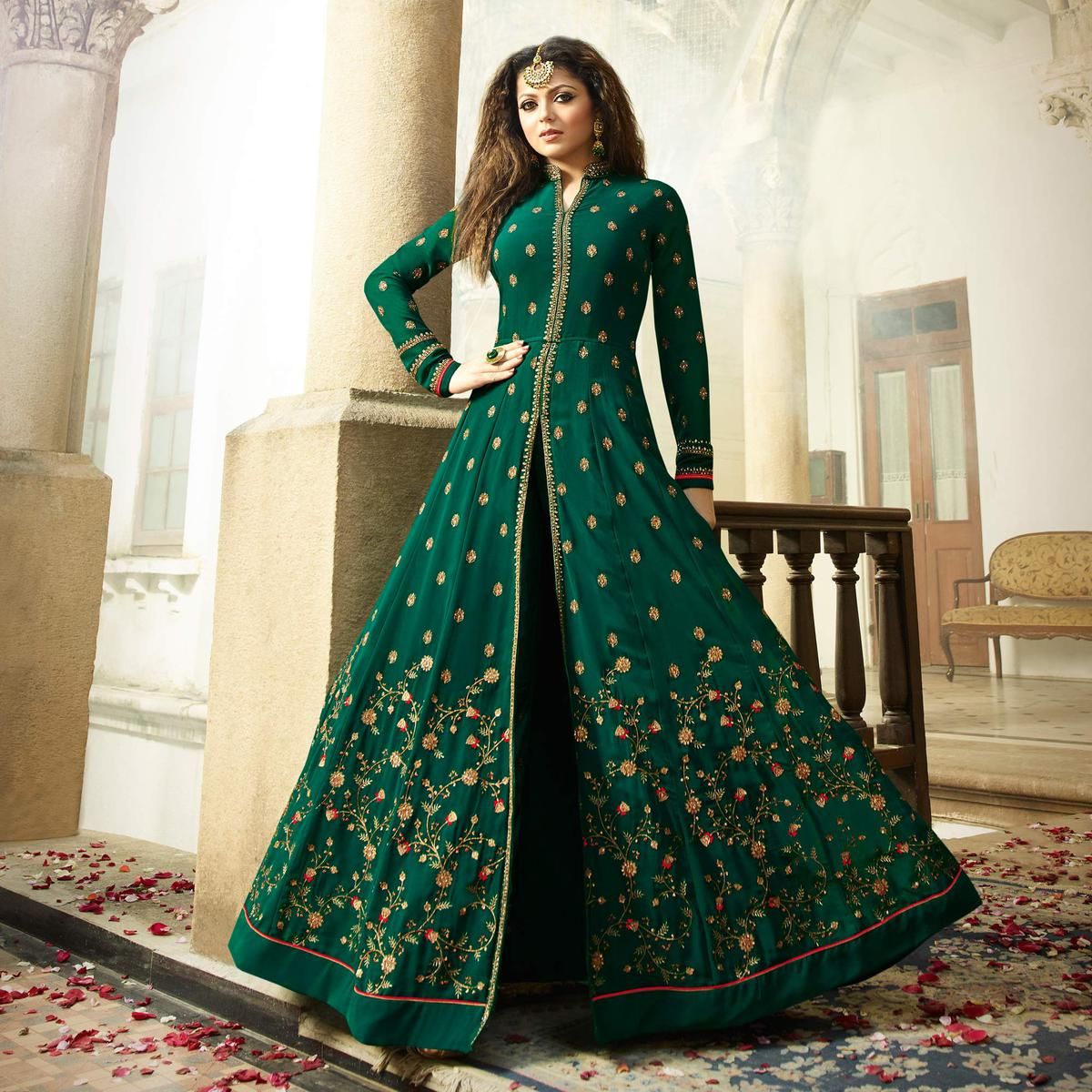 Attractive Green Colored Designer Embroidered Partywear Georgette Abaya Style Anarkali Suit