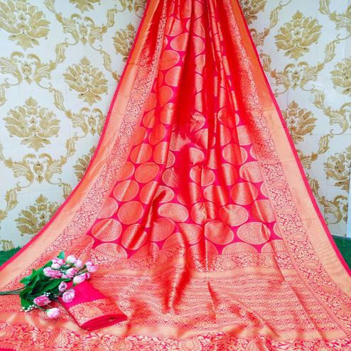 Engrossing Gajari Colored Festive Wear Woven Soft Lichi Silk Saree