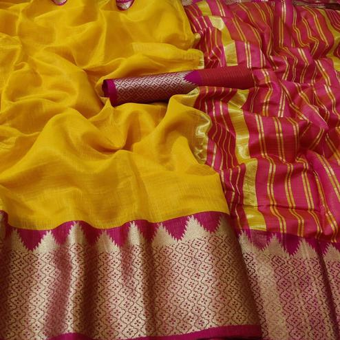 Sophisticated Yellow Colored Festive Wear Woven Kota Doria Saree