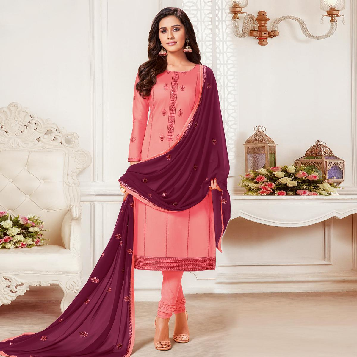 Glorious Peach Colored Embroidered Partywear Jam Silk Cotton Dress Material